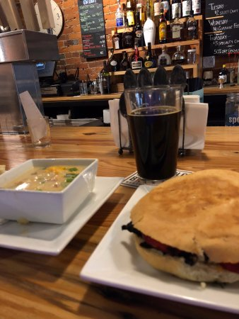Wooster, OH: Dr. Strangelove sandwich and baked potato soup.