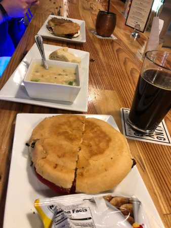 Wooster, OH: Half Baked sandwich, baked potato soup, Dr. Strangelove sandwich.