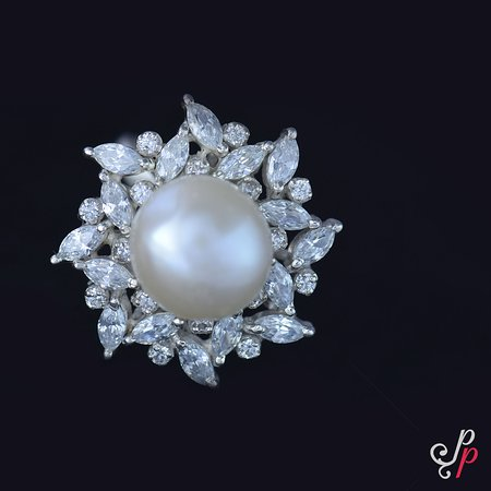 7fe24b889e88c9 Pure Pearls: Zirconia stones studded, Sterling Silver Pearl Finger Ring in  Freshwater button pearl
