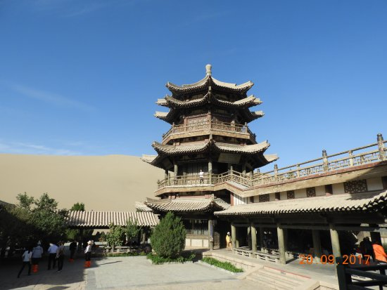 Dunhuang, China: Impressive chinese style temple in the lake complex