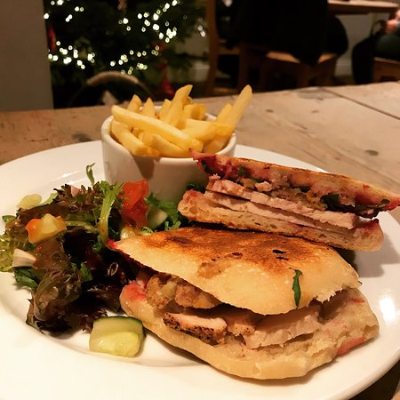 Warkworth, UK: Christmas panini.... turkey, stuffing, with cranberry and rocket
