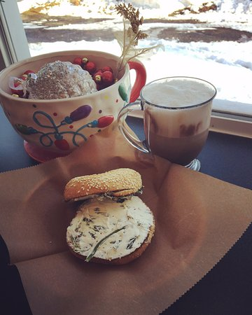 Shrewsbury, MA: House Made Garlic and Spinach Cream Cheese with Caramel Nut Mocha Latte