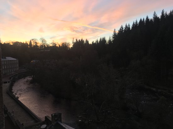 Lanark, UK: View from room (21) early morning/