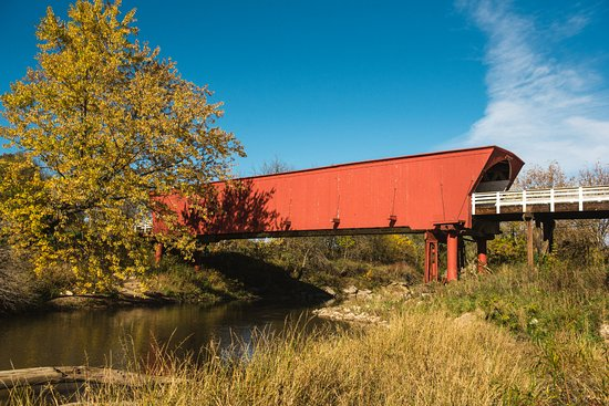 Madison County Chamber of Commerce & Welcome Center: The Roseman Covered Bridge in Madison County, Iowa.  Photo by Teddi Yaeger