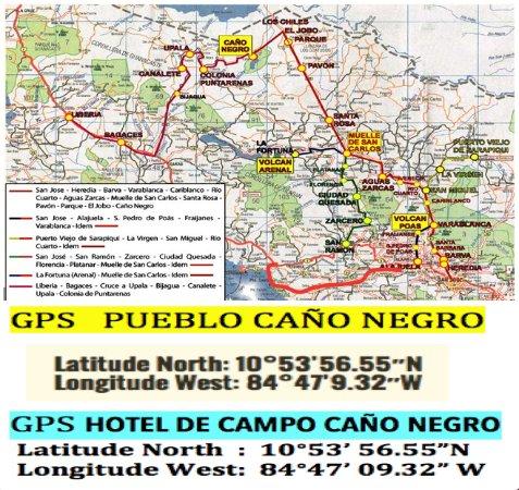 Cano Negro, Costa Rica: Directions for Hotel de Campo