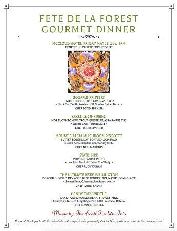 McCloud, Калифорния: Special Mushroom Dinner Menu 2017