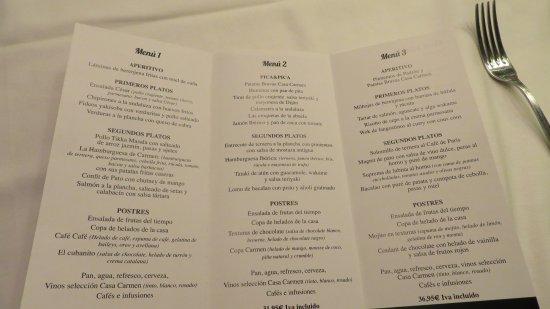 carta de menus de navidad - picture of casa carmen sevilla, seville