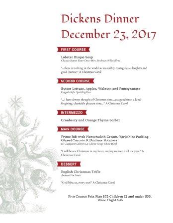 McCloud, CA: Dickens Dinner Menu 2017