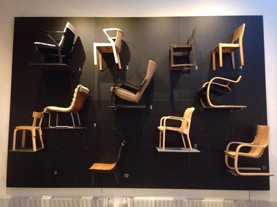 Jyväskylä, Finlândia: The wall of chair designs