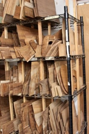 Kaneohe, HI: Sets of various grades of Koa bookmatched, sanded and waiting to become your Kanile`a `ukulele