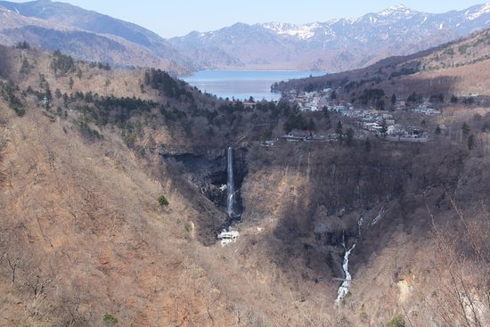 Akechidaira Observation Area: 展望台から見た華厳の滝、中禅寺湖の眺望