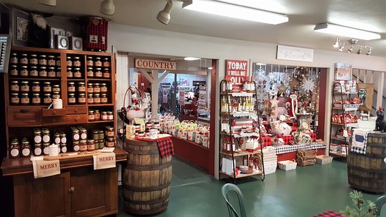 Fort Dodge, IA: Gift shop, with an assortment of holiday decorations and apple bags.
