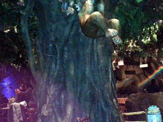 Rainforest Cafe: there is a monkey there