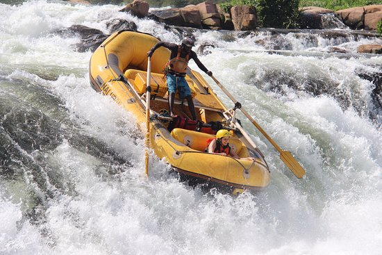 Nalubale Rafting: Safety Boat vs Overtime.  Safety Boat wins!!