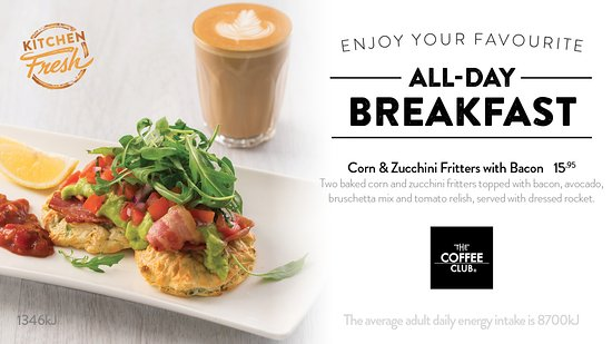 Coolum Beach, Αυστραλία: Corn & Zucchini Fritters with Bacon
