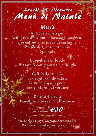 Mercato Saraceno, Italia: Menù pranzo di Natale 2017 🎄