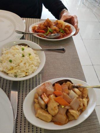 Red Dragon: riz cantonais, porc au pousses de bambou, et viande frit sauce aigre douce