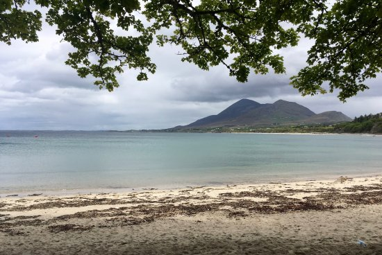 West Ireland Cycling: A view of Croagh Patrick from a secret beach