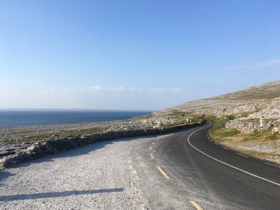West Ireland Cycling: A view of a road on the Burren coast