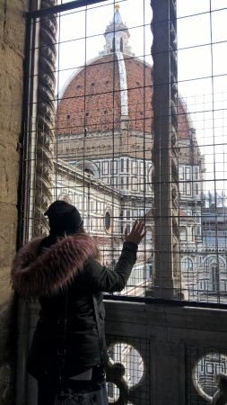 Campanile di Giotto: Vista del Cupolone da uno dei piani interni al campanile