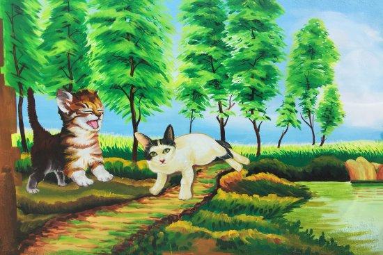 台灣雲林縣: 貓咪彩繪壁畫