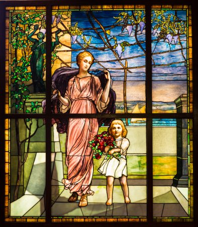 """Evanston, IL: Tiffany Glass and Decorating Company """"Woman with Daughter"""""""
