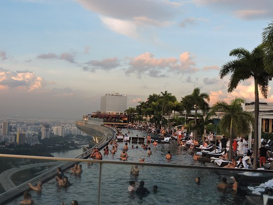 Crowded Pool In The Evening Picture Of Marina Bay Sands Singapore Tripadvisor