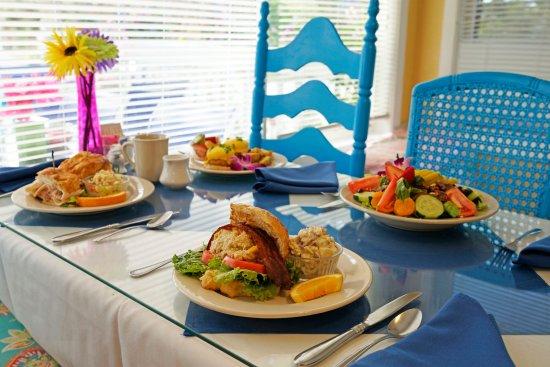 Nokomis, FL: Crabcake BLT, Turkey croissant, crab cake eggs benedict and Pear Gorgonzola salad