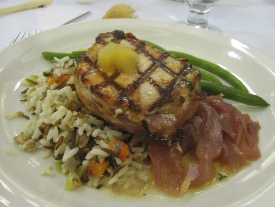 Brooklyn Center, MN: Grilled Pork Loin over Wild Rice with Sweet Onions and Fresh Green Beans