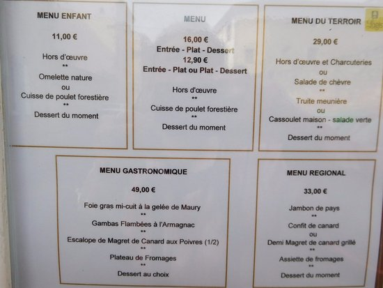 Alet les Bains, France: menu