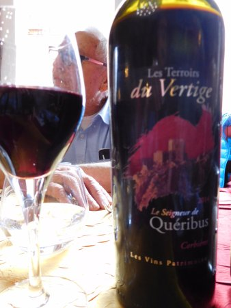 Cucugnan, France: wine bottle; we had just come from Quéribus