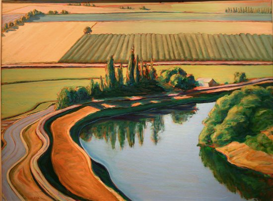 Davis, CA: Phil Gross paints the landscapes of the Sacramento Valley; Sacramento River at Portugese Bend