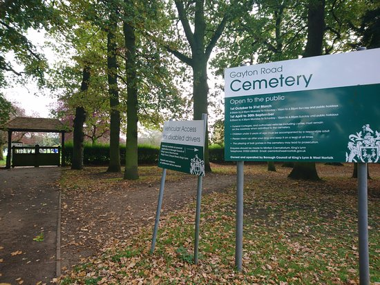 King's Lynn, UK: View of Gayton Road Cemetery main entrance from Cemetery Drive road