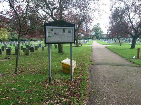 View of Gayton Road Cemetery from inside main entrance (Cemetery Drive side)
