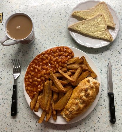 Driffield, UK: *Special* Pasty, chips  and beans - £5.50