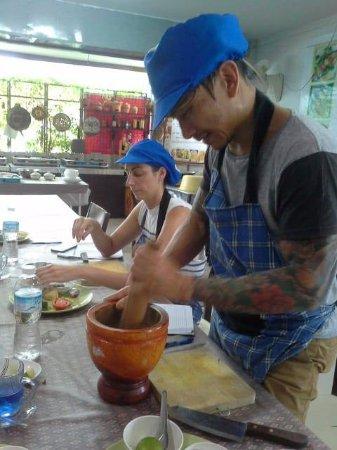 Rawai, Thailand: marking curry paste