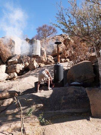 Omaruru, Namibia: Feeding the donkey to heat the water! Worked well.