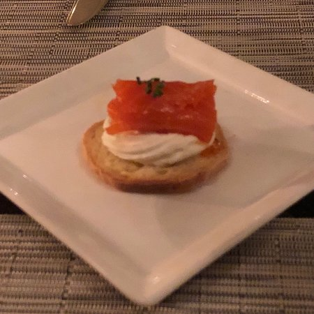 Carmel Valley, CA: Pork chop and salmon with cream cheese