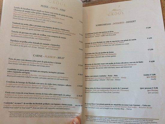 Beja, Portugal: menu