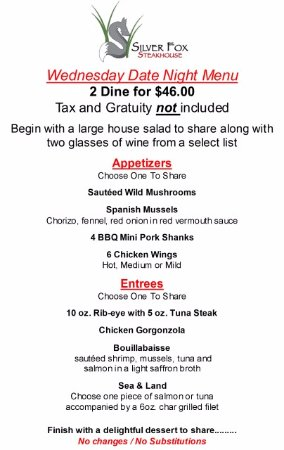 Ellicottville, NY: Wednesday Date Night Menu