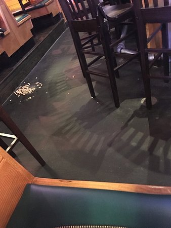 Columbia, MD: Peanuts on the floor for an hour. Hope nobody slips or rolls an ankle.