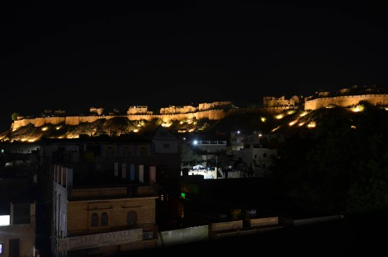 Rooftop view at night with Golden Fort.