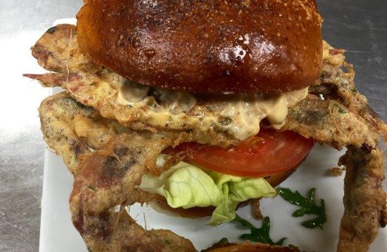 Montgomeryville, بنسيلفانيا: A popular summer burger...softshells