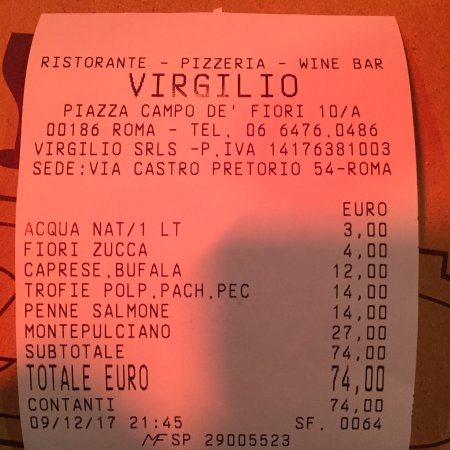 Fiori 10 Euro.Photo0 Jpg Picture Of Virgilio Rome Tripadvisor