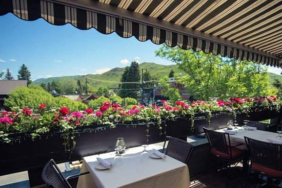 Our beautiful upstairs deck with views of downtown Ketchum
