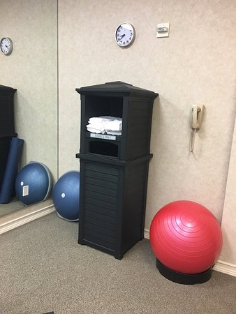 Mansfield, TX: Fitness room(towels and stability balls)