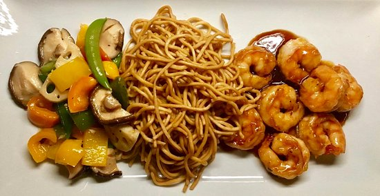 Denville, NJ: Shrimp Hibachi Dinner with Fried Noodles and Mixed Vegetables.