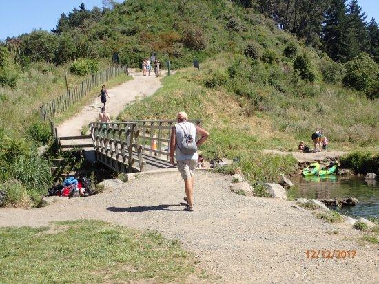 Taupo, Neuseeland: 30 people enjoying the bridge area