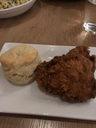 Hudson, NY: Fried chicken thigh with a homemade biscuit