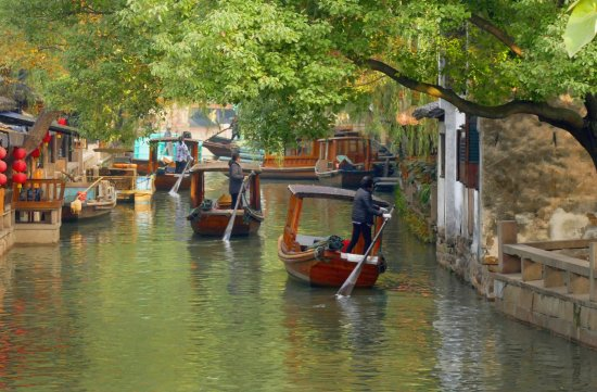 Kunshan, China: Zhouzhuang Water Town, waterway